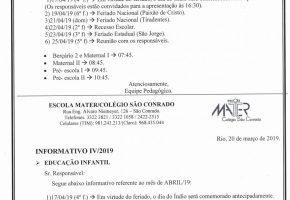 Abril – 2019 – Informativo IV
